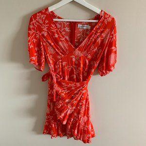 Showpo. Red and White Floral Wrap Dress Mini Dress